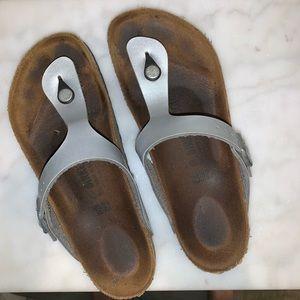 Silver Birkenstock Gizeh Sandals